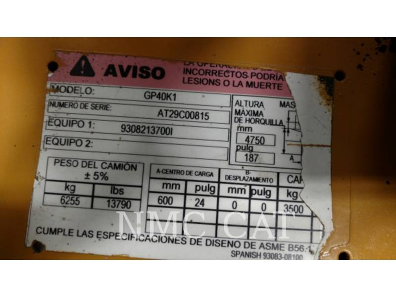 CATERPILLAR LIFT TRUCKS CHARIOTS À FOURCHE GP40KGLP_MC equipment  photo 1