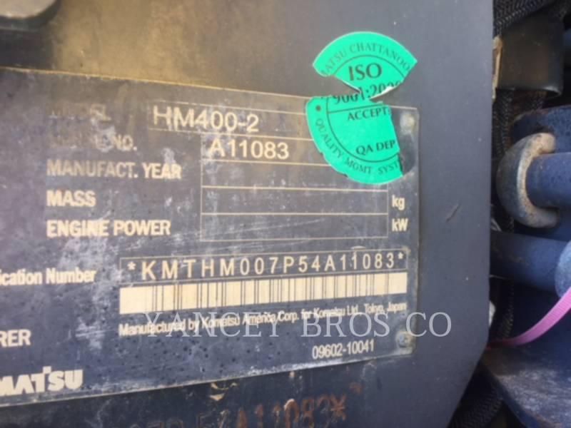 KOMATSU KNICKGELENKTE MULDENKIPPER HM400 equipment  photo 7