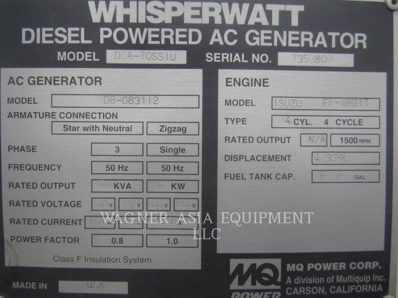 MULTIQUIP STATIONARY GENERATOR SETS DCA-70SSIU equipment  photo 8