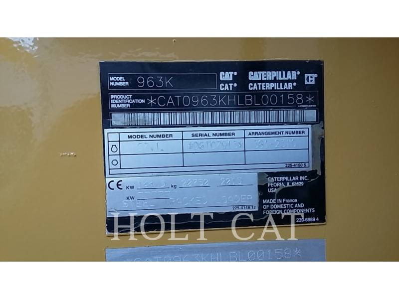 CATERPILLAR CARGADORES DE CADENAS 963K equipment  photo 9