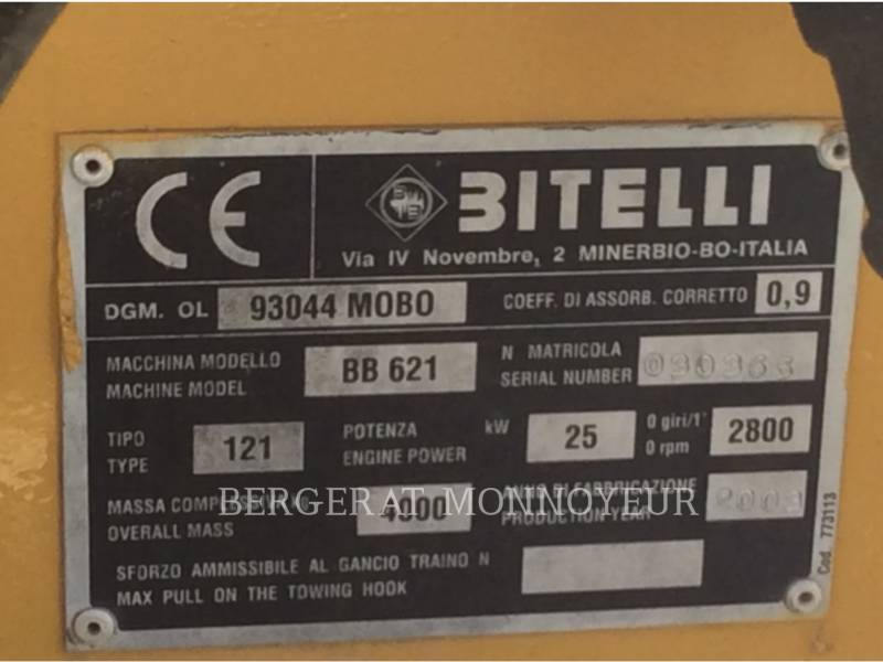 BITELLI S.P.A. PAVIMENTADORA DE ASFALTO BB621C equipment  photo 14