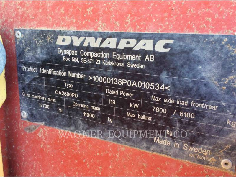DYNAPAC COMPACTEURS CA2500PD equipment  photo 6