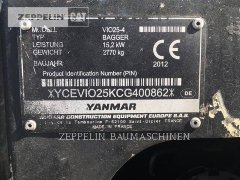 YANMAR KOPARKI GĄSIENICOWE VIO25-4 equipment  photo 2