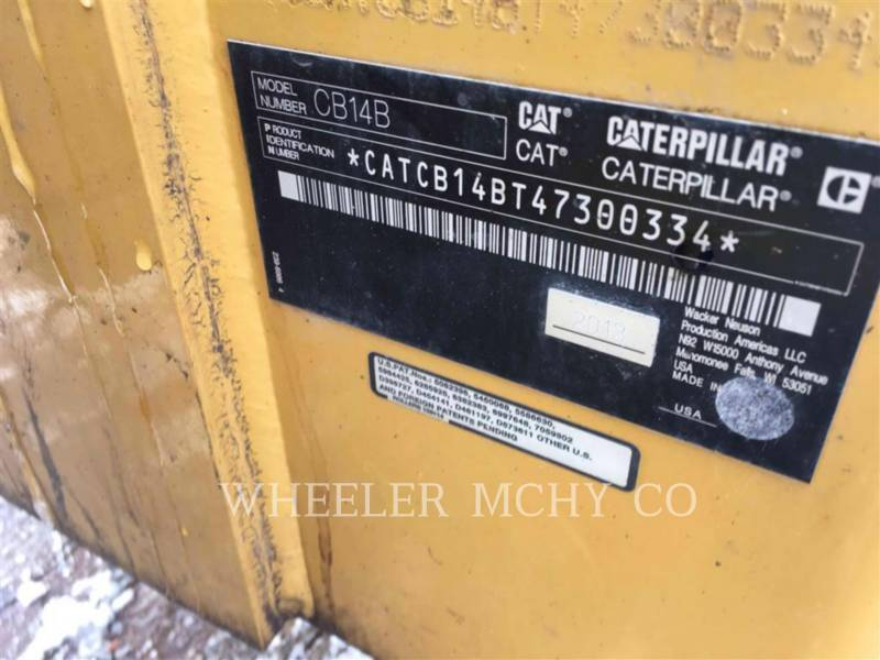 CATERPILLAR VIBRATORY DOUBLE DRUM ASPHALT CB14B equipment  photo 5