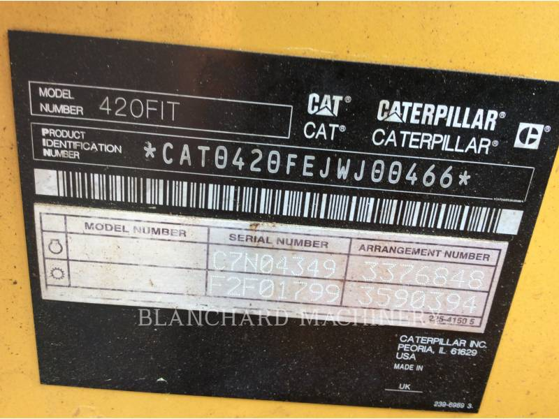 CATERPILLAR BAGGERLADER 420FIT equipment  photo 12
