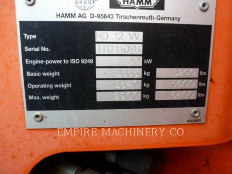HAMM USA VIBRATORY DOUBLE DRUM ASPHALT HD12 equipment  photo 1
