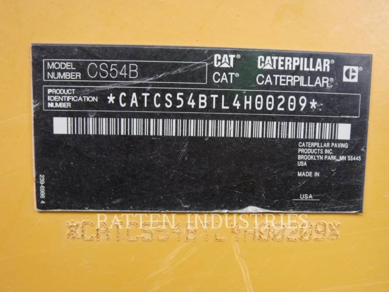 CATERPILLAR VIBRATORY SINGLE DRUM PAD CS54B equipment  photo 6