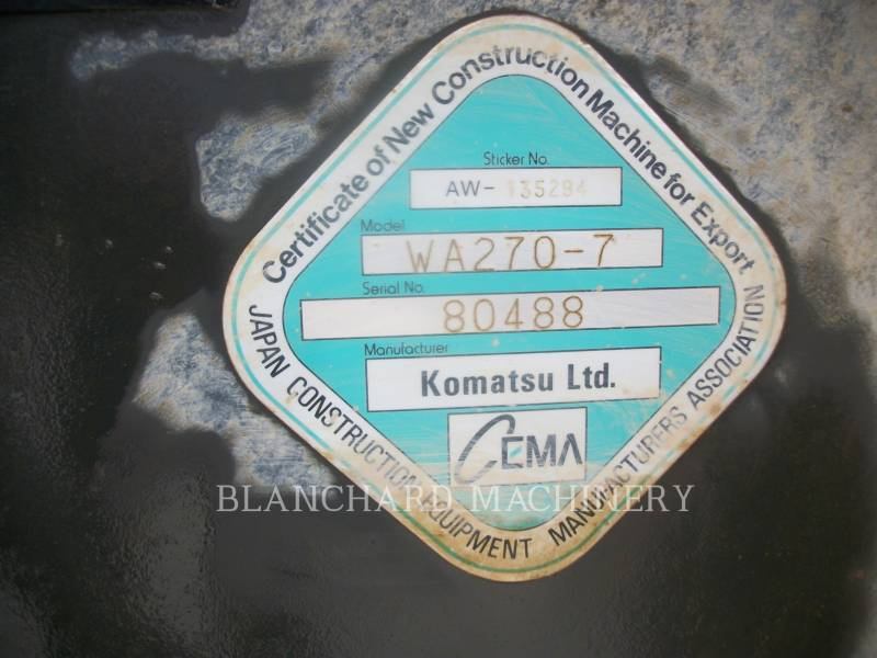KOMATSU WHEEL LOADERS/INTEGRATED TOOLCARRIERS WA270 equipment  photo 8