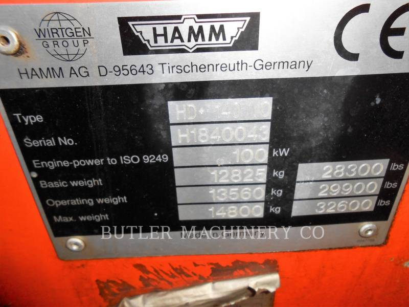 HAMM VIBRATORY DOUBLE DRUM ASPHALT HD+ 140 VO equipment  photo 4