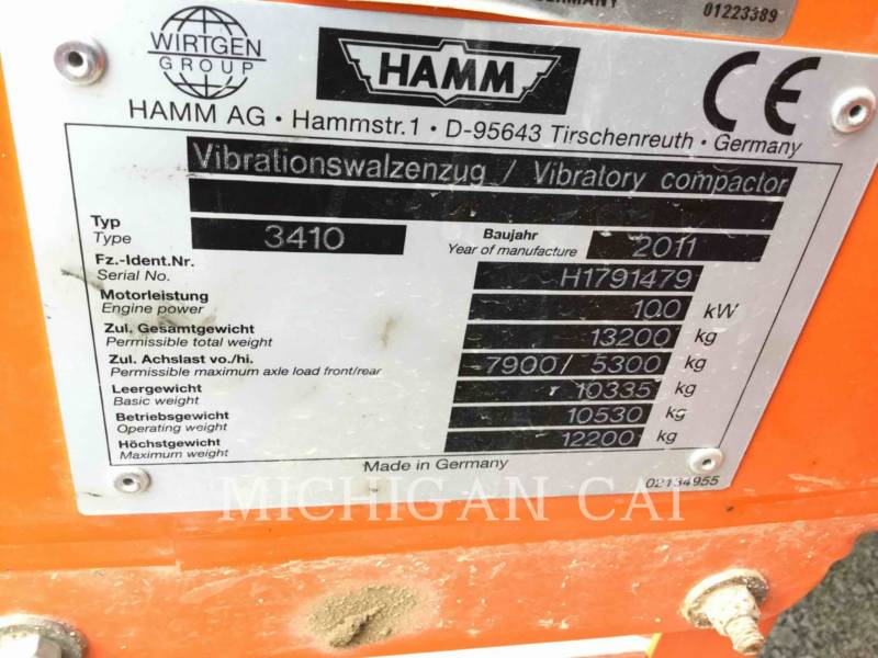 HAMM GMBH COMPATTATORE A SINGOLO TAMBURO VIBRANTE LISCIO 3410 equipment  photo 9