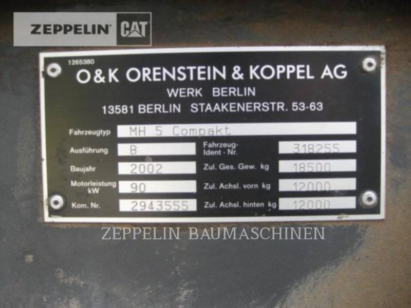 O&K WHEEL EXCAVATORS MH5 equipment  photo 16