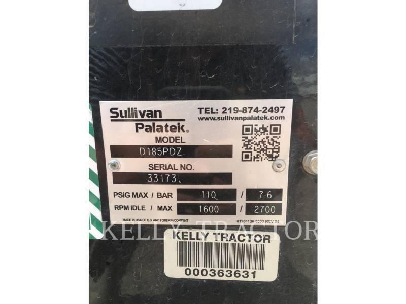 SULLIVAN AIR COMPRESSOR D185P DZ equipment  photo 10