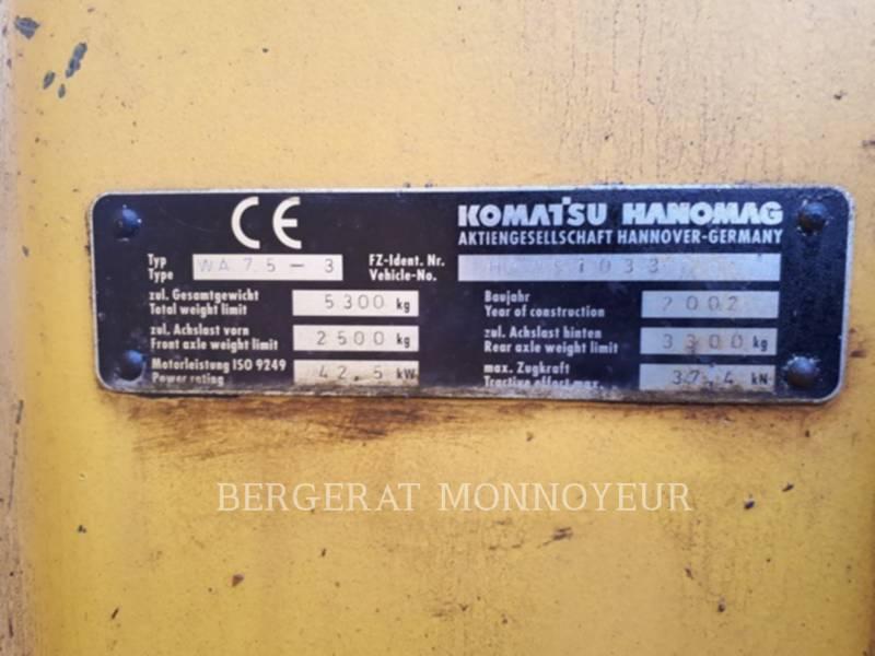 KOMATSU RADLADER/INDUSTRIE-RADLADER WA75 equipment  photo 6