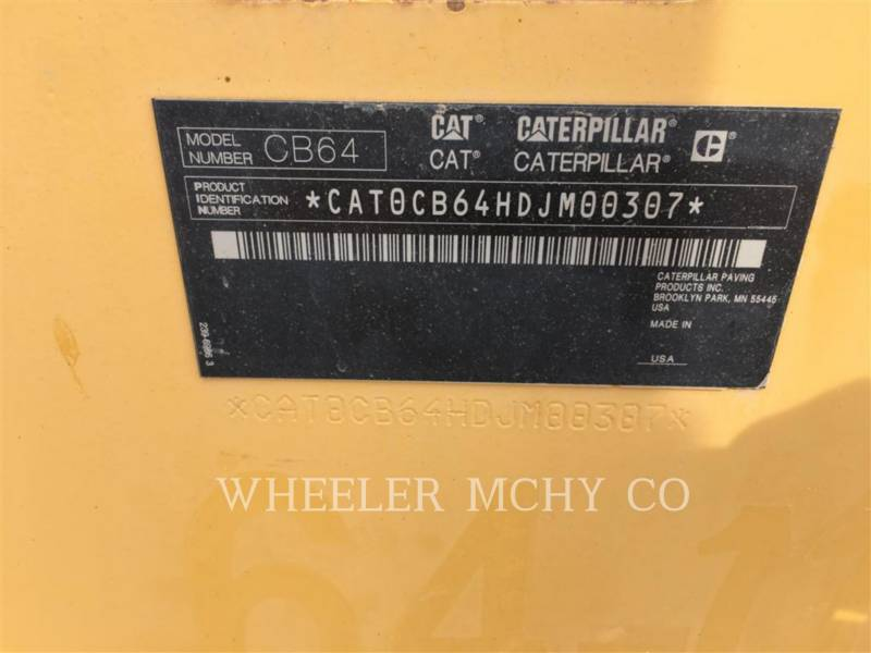 CATERPILLAR TANDEMOWY WALEC WIBRACYJNY DO ASFALTU (STAL-STAL) CB64 equipment  photo 5