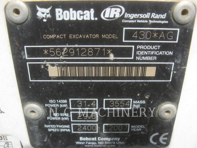 BOBCAT TRACK EXCAVATORS 430AG equipment  photo 5