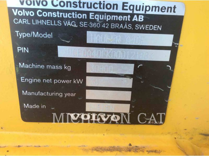 VOLVO CONSTRUCTION EQUIPMENT ARTICULATED TRUCKS A40F equipment  photo 9