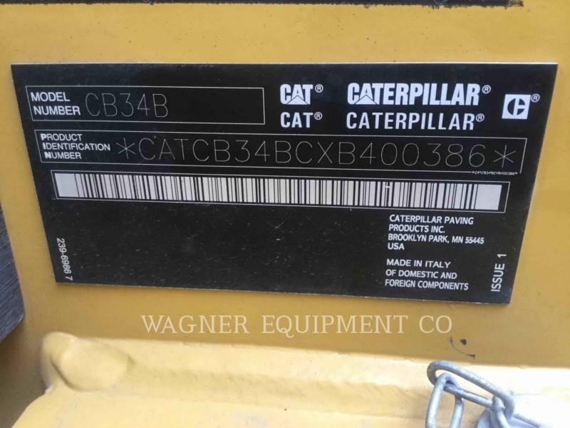 CATERPILLAR TANDEMOWY WALEC WIBRACYJNY DO ASFALTU (STAL-STAL) CB34B equipment  photo 13