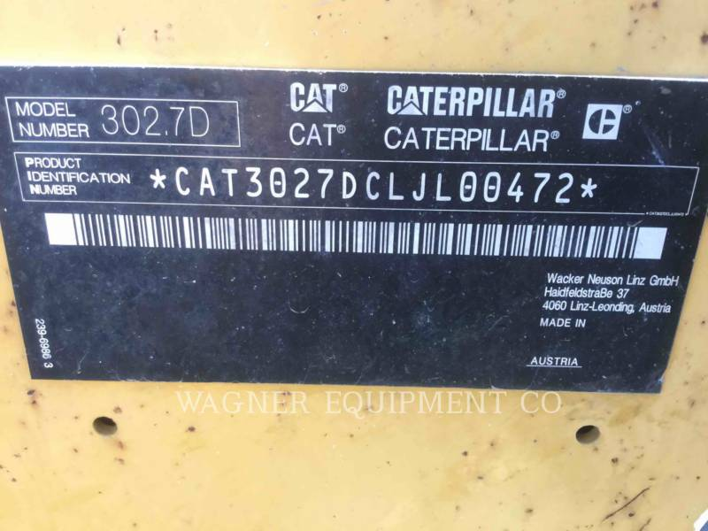 CATERPILLAR トラック油圧ショベル 302.7D CR equipment  photo 9