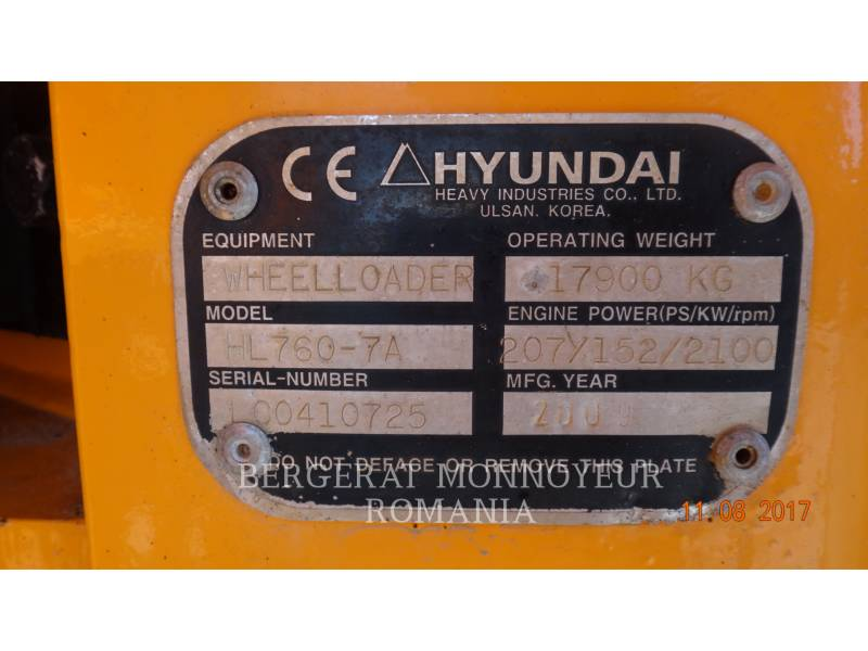 HYUNDAI CONSTRUCTION EQUIPMENT WHEEL LOADERS/INTEGRATED TOOLCARRIERS HL760-7A equipment  photo 11