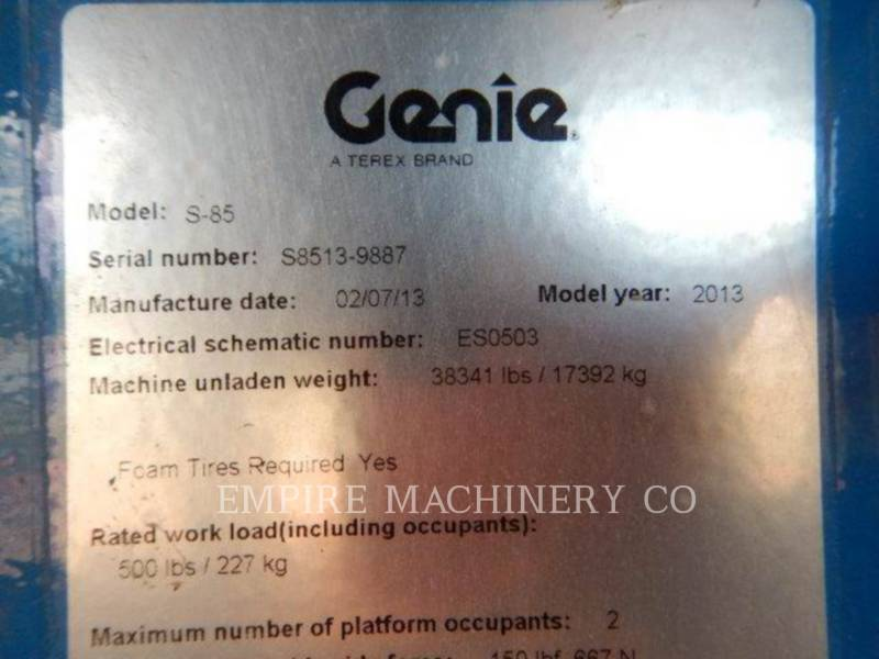 GENIE INDUSTRIES EQUIPO VARIADO / OTRO S-85 equipment  photo 9