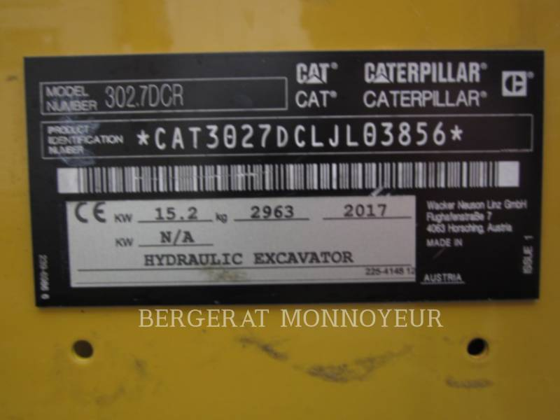 CATERPILLAR TRACK EXCAVATORS 302.7D CR equipment  photo 14