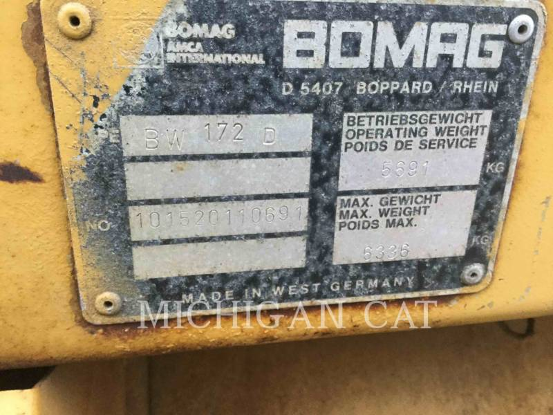BOMAG COMPACTEUR VIBRANT, MONOCYLINDRE LISSE BW172D equipment  photo 20