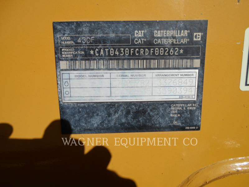 CATERPILLAR BACKHOE LOADERS 430F 4WDE equipment  photo 5