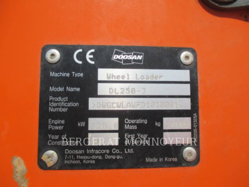DOOSAN INFRACORE AMERICA CORP. CARGADORES DE RUEDAS DL250.3 equipment  photo 9