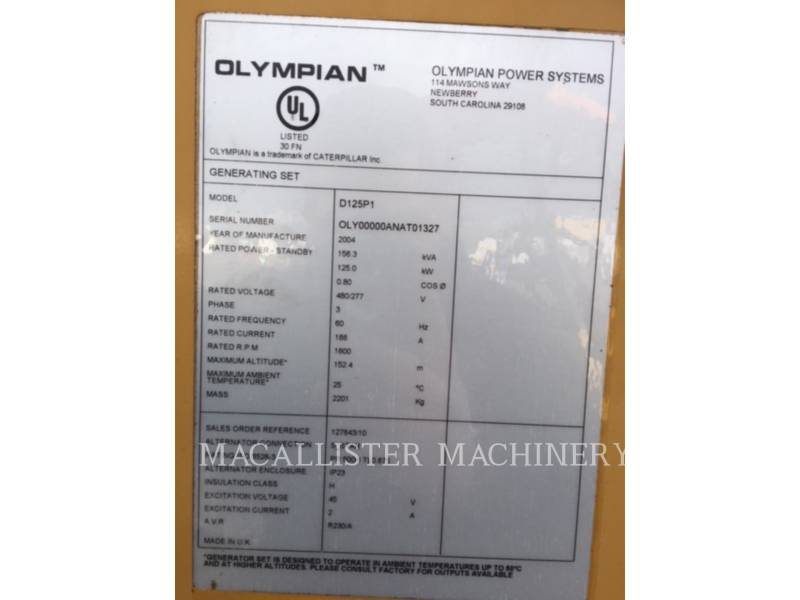 OLYMPIAN STATIONARY GENERATOR SETS D125P1 equipment  photo 10