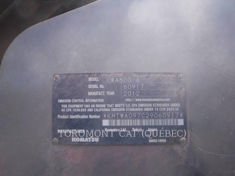 KOMATSU CHARGEURS SUR PNEUS/CHARGEURS INDUSTRIELS WA600 equipment  photo 6
