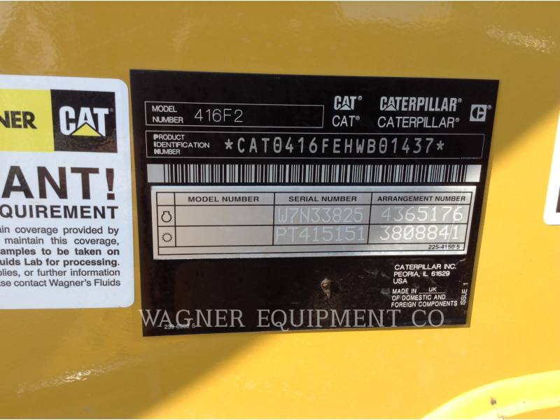 CATERPILLAR BAGGERLADER 416F2ST equipment  photo 5