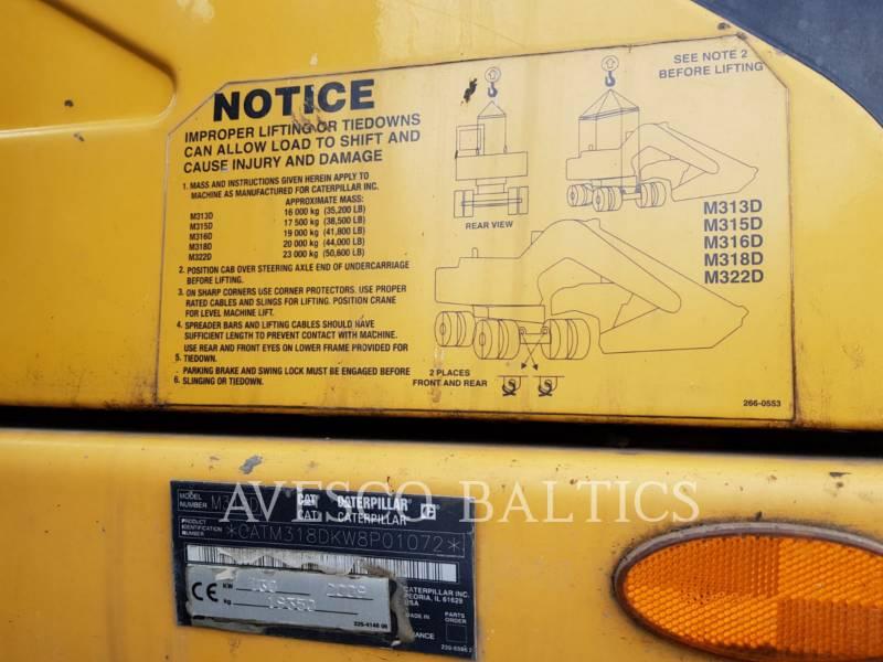 CATERPILLAR EXCAVADORAS DE RUEDAS M318D equipment  photo 8