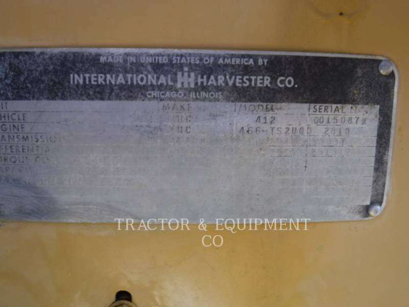 INTERNATIONAL HARVESTER MOTOESCREPAS 412 equipment  photo 2
