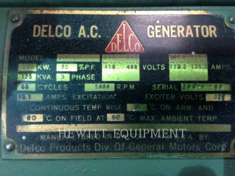 DETROIT DIESEL STATIONARY GENERATOR SETS 6-71, 100KW 120/208 VOLTS equipment  photo 6