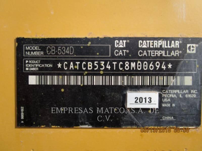 CATERPILLAR TAMBOR DOBLE VIBRATORIO ASFALTO CB-534D equipment  photo 5
