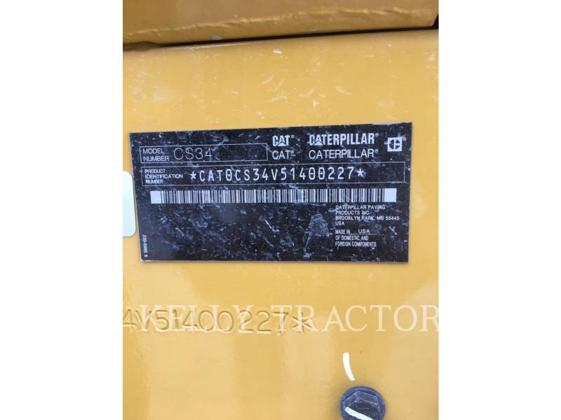 CATERPILLAR VIBRATORY SINGLE DRUM SMOOTH CS34 equipment  photo 14