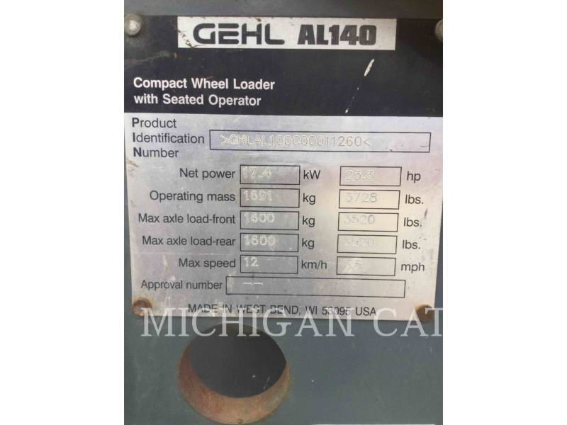 GEHL COMPANY WHEEL LOADERS/INTEGRATED TOOLCARRIERS AL140 equipment  photo 21