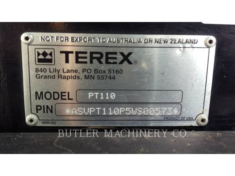 TEREX CORPORATION SKID STEER LOADERS PT110 equipment  photo 7
