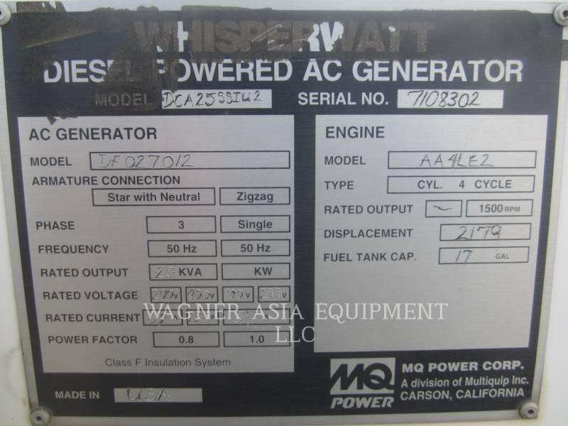 MULTIQUIP STATIONARY GENERATOR SETS DCA25SSIU2 equipment  photo 14