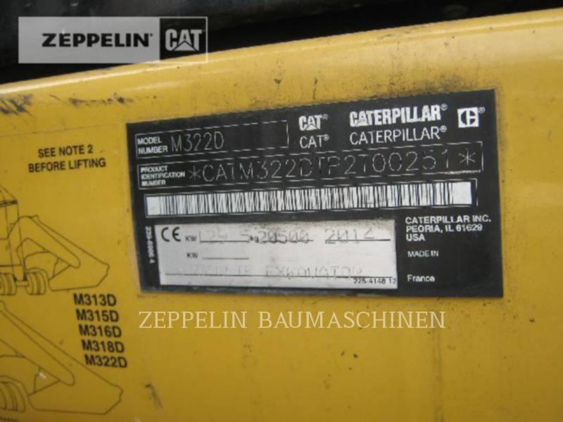 CATERPILLAR ホイール油圧ショベル M322D equipment  photo 9