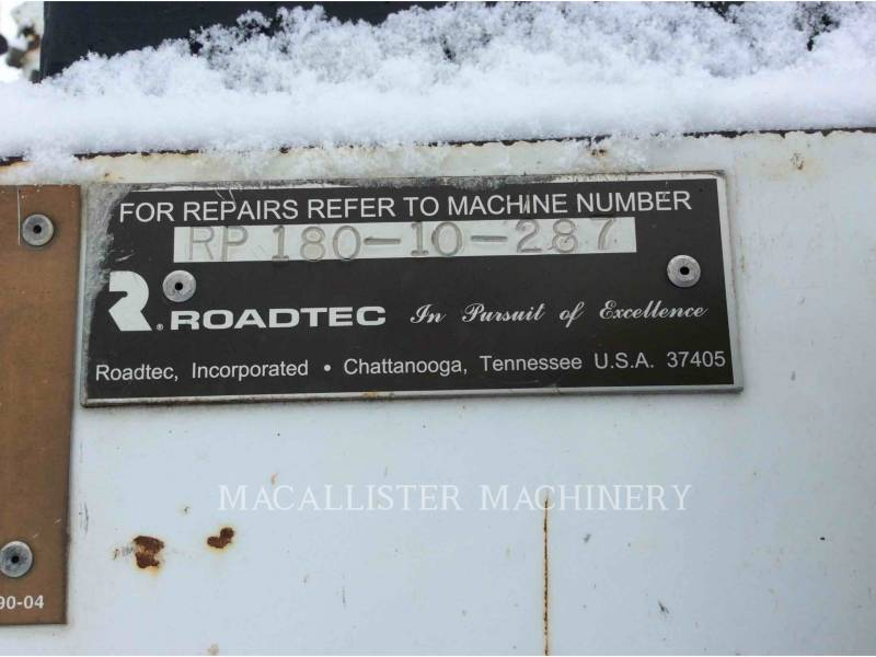 ROADTEC ASPHALT PAVERS RP180-10 equipment  photo 5