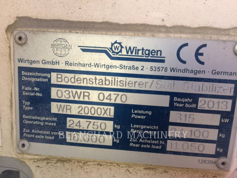 WIRTGEN STABILISATEURS DE SOL/RECYCLEUSES WR 2000XL equipment  photo 6