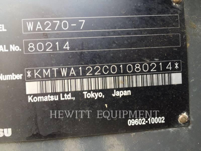 KOMATSU WHEEL LOADERS/INTEGRATED TOOLCARRIERS WA270 equipment  photo 11