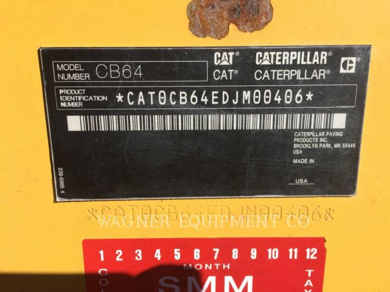 CATERPILLAR COMPACTEURS TANDEMS VIBRANTS CB64 equipment  photo 5