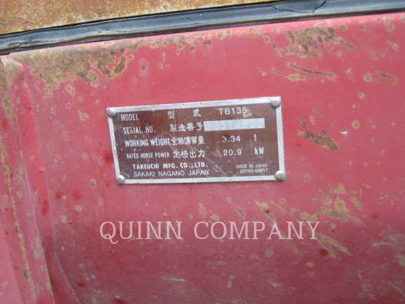 TAKEUCHI MFG. CO. LTD. TRACK EXCAVATORS TB135 equipment  photo 6
