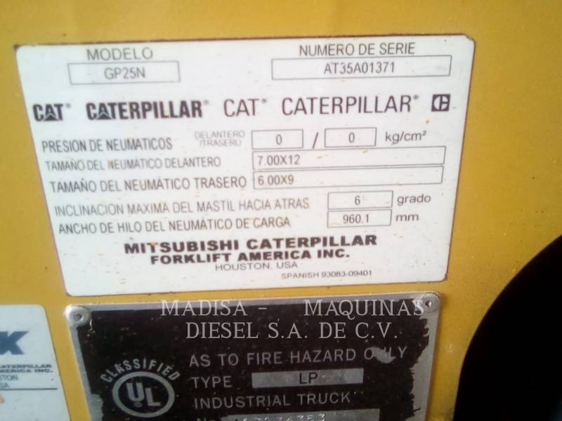 CATERPILLAR LIFT TRUCKS CARRELLI ELEVATORI A FORCHE GP25N equipment  photo 2