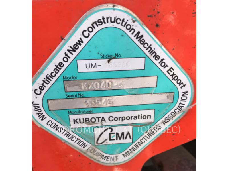 KUBOTA CORPORATION EXCAVADORAS DE CADENAS KX040-4 equipment  photo 22