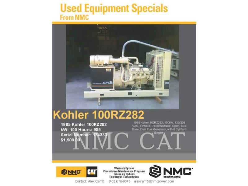 KOHLER STATIONARY GENERATOR SETS 100RZ282 equipment  photo 4