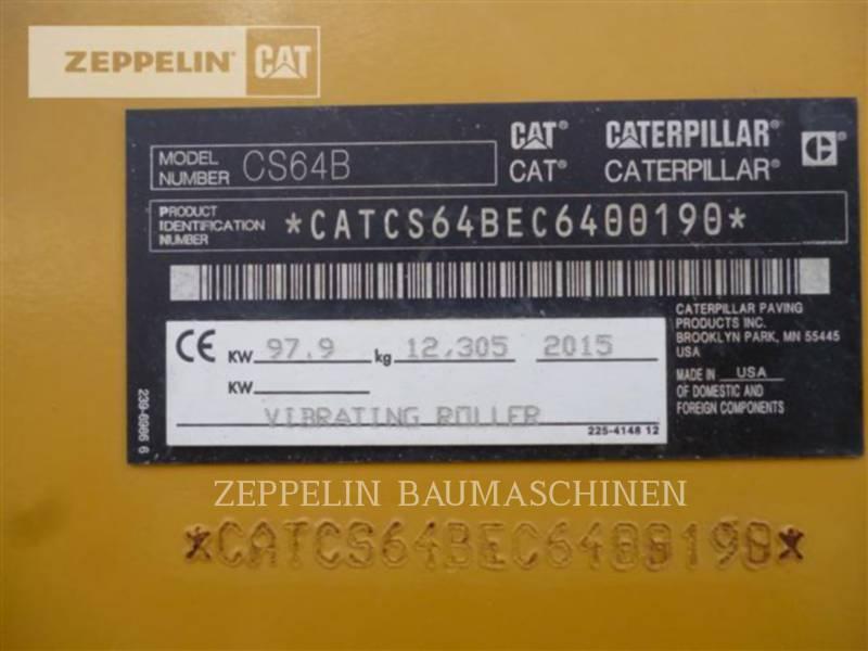 CATERPILLAR EINZELVIBRATIONSWALZE, GLATTBANDAGE CS64B equipment  photo 8