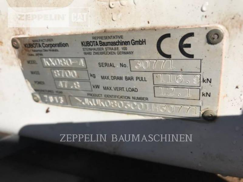 KUBOTA CORPORATION KETTEN-HYDRAULIKBAGGER KX080-4 equipment  photo 12